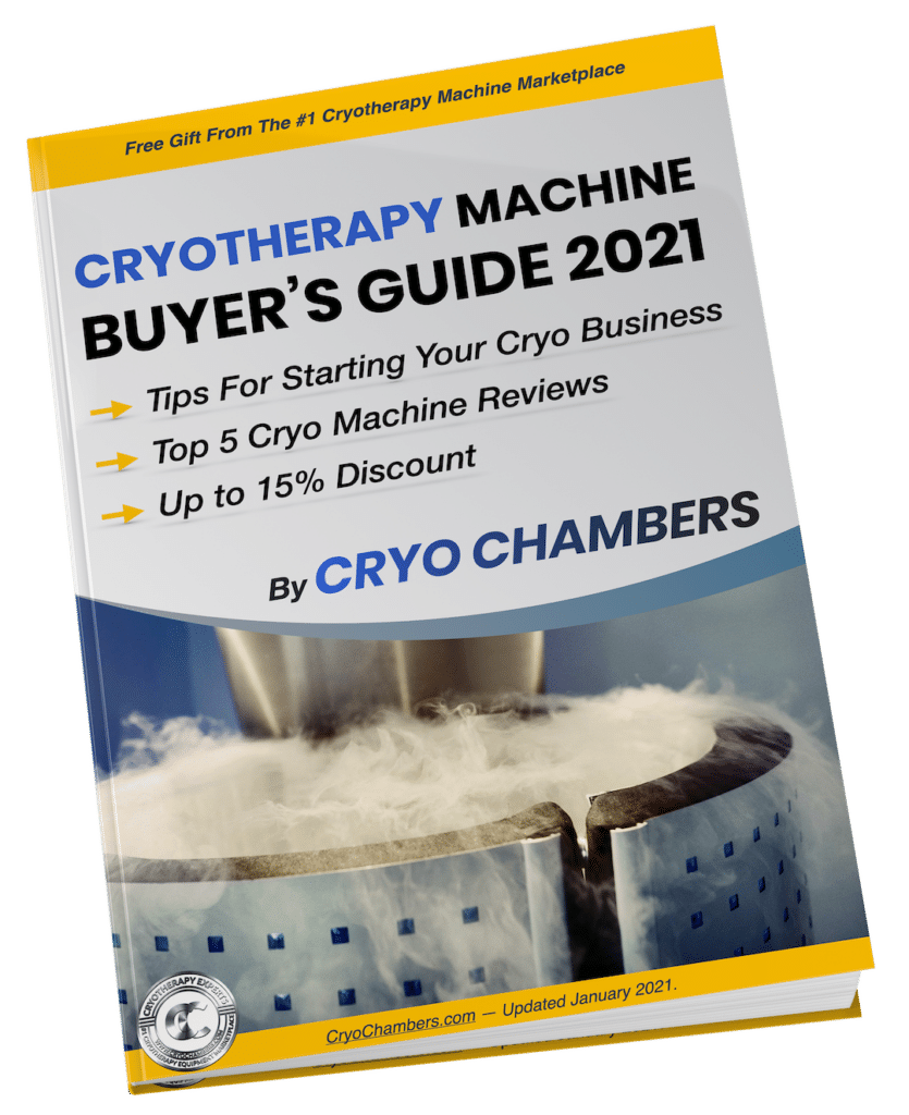 The buyer's guide includes reviews of the best cryotherapy machine and tips on starting your cryo business